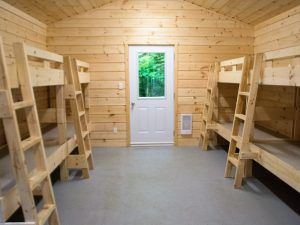 An image of the interior of a Wenonah Outdoor Centre cabin