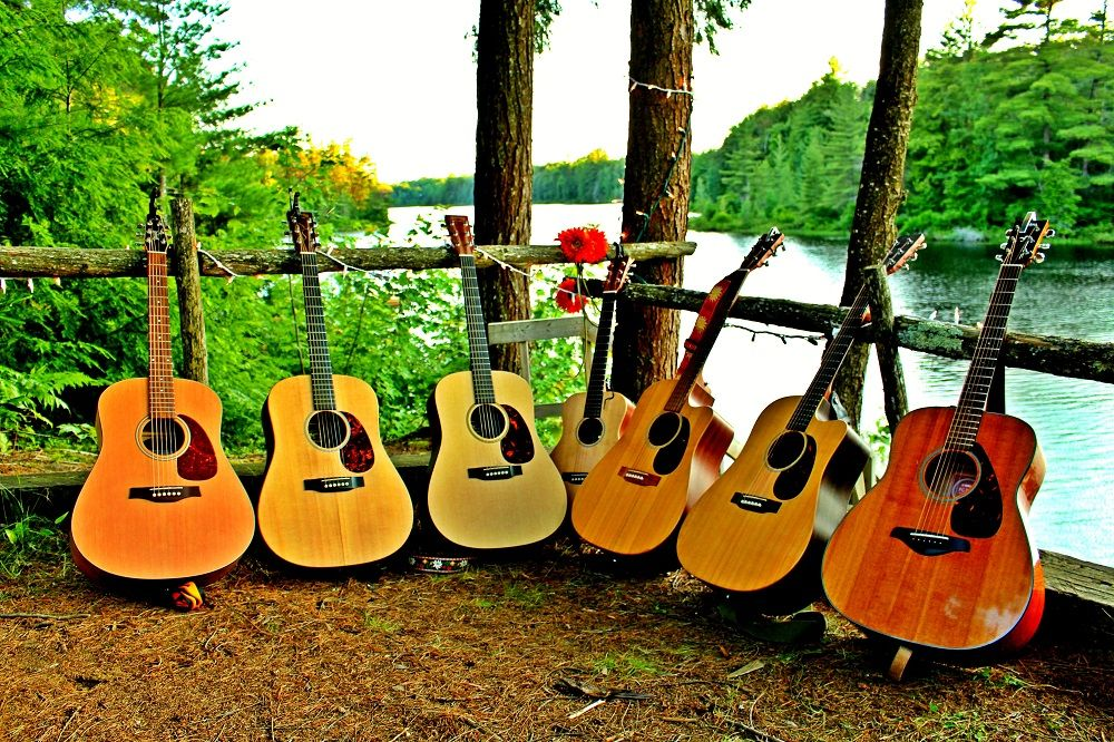 An image of guitars at Camp Wenonah in Muskoka Ontario Canada