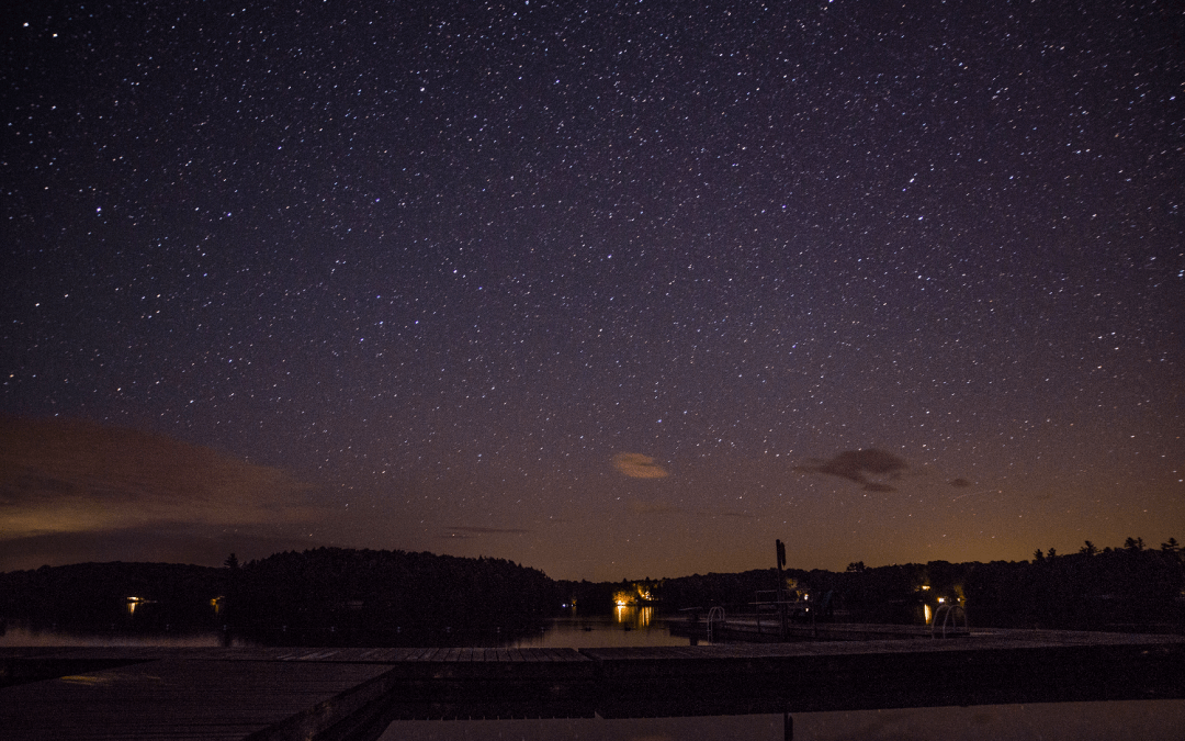 A photo of the starry night sky at Camp Wenonah in Muskoka Ontario