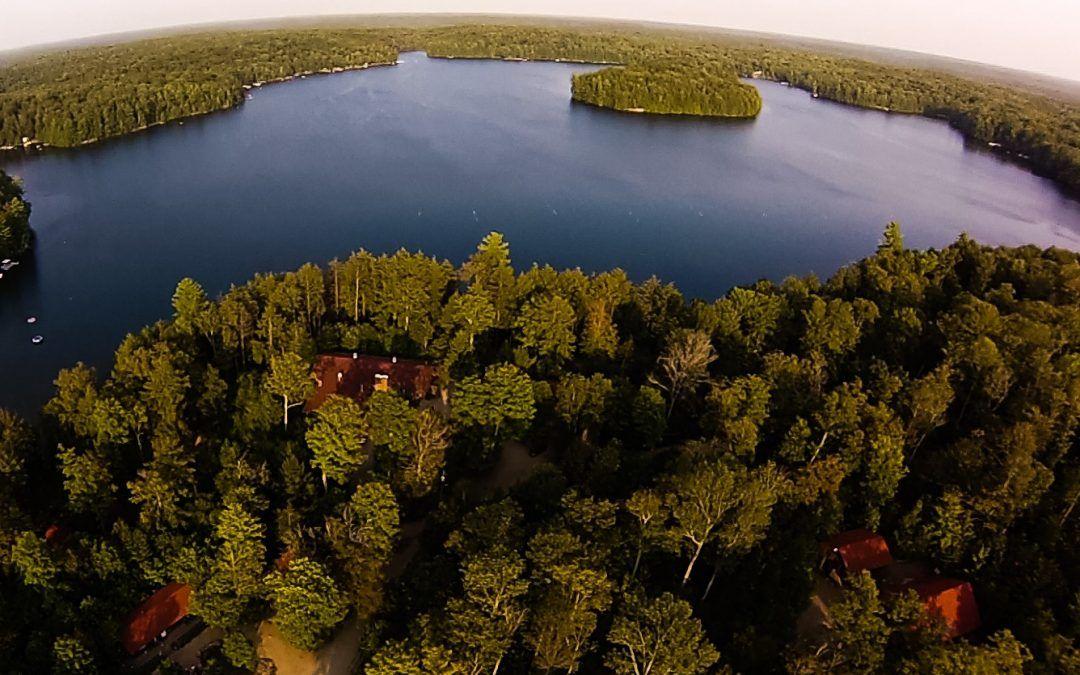 An overhead image of Camp Wenonah on Clear Lake in Muskoka Ontario Canada