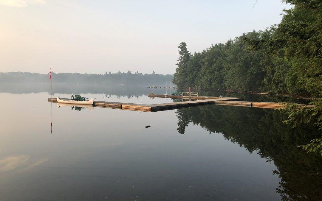 An image of the swim docks at Camp Wenonah in Muskoka Ontario Canada